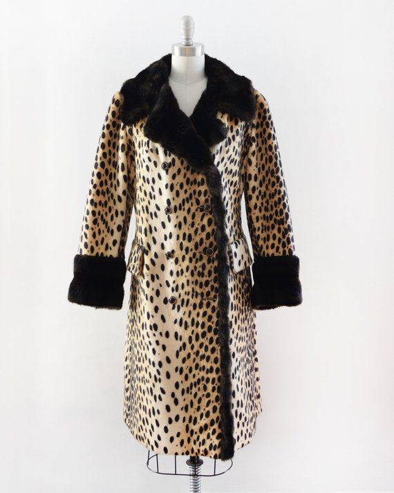 6fa52d6848de vintage leopard print coat, 60s leopard coat, 1960s faux fur animal print  coat, medium m