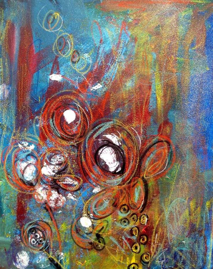 Original abstract flower painting acrylic mixed media my for Abstract art flowers paintings
