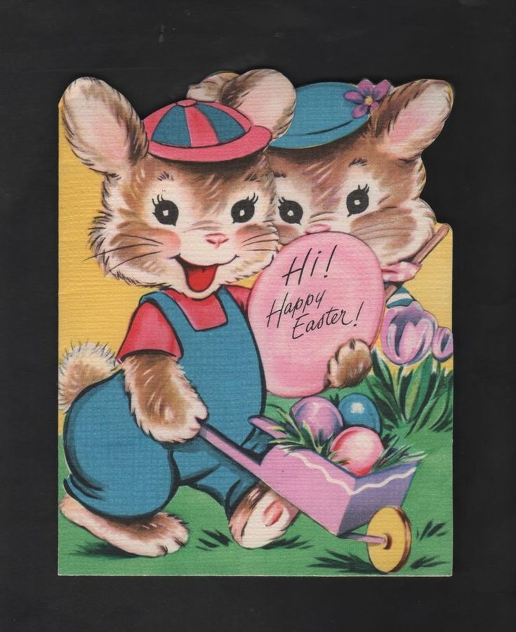 vintage Wishing Well Hi! Happy Easter Greeting Card Bunny push Wheelbarrow eggs