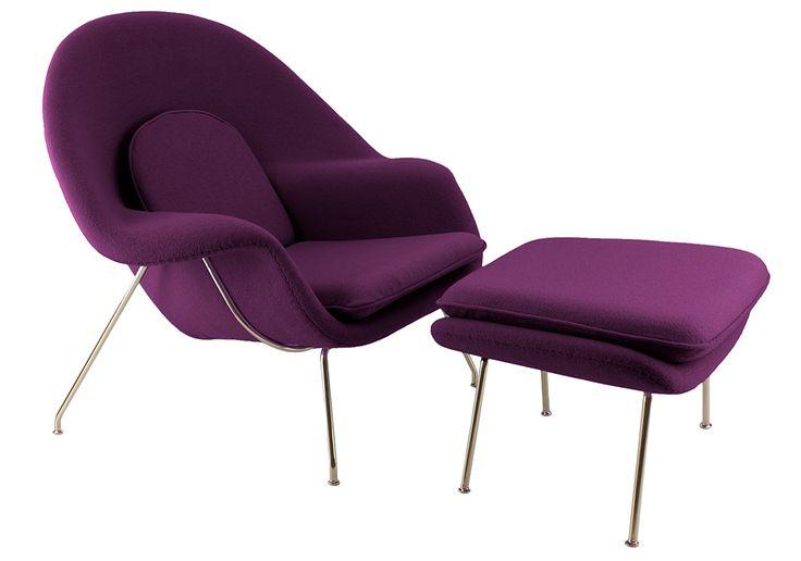 Стул утробы и Османской в фиолетовый шерсть
