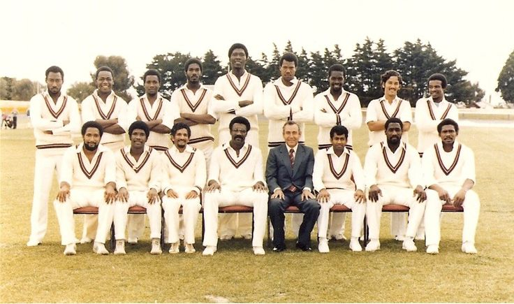 The greatest cricket team of all time. West Indies 1981. Back (L-R): Derek Parry, Desmond Haynes, Malcolm Marshall, Michael Holding, Joel Garner, Colin Croft, Collis King, Larry Gomes, David Murray  Front (L-R): Andy Roberts, Lawrence Rowe, Deryck Murray, Clive Lloyd (Captain), Alvin Kallicharran, Vivian Richards, Gordon Greenidge