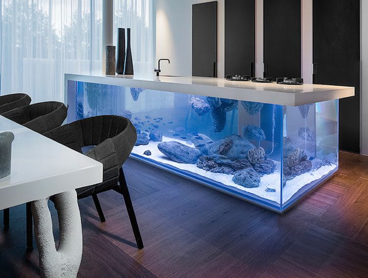 Modern Kitchen Island Gorgeously Combined With Fully-Functional Aquarium - My Modern Met