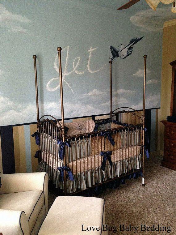 Custom Baby Bedding  Jet by LoveBugBabyBedding on Etsy, $455.00