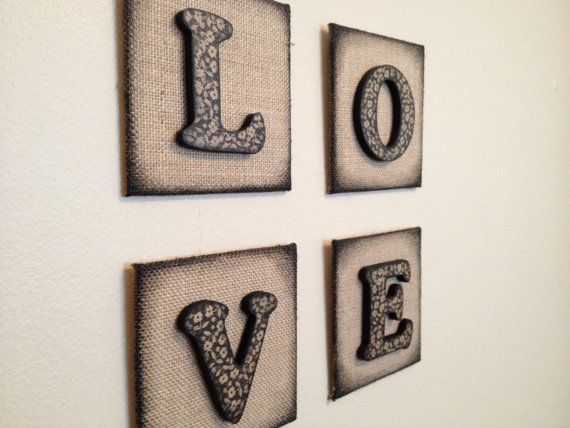 Love wall decor 4 individual decoupage by for Individual wooden letters