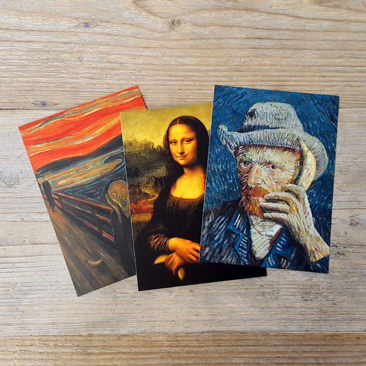 Set van 3 banaan schilderijen #banana #monalisa #vincentvangogh #munch #parody #art #postcard #ansichtkaart