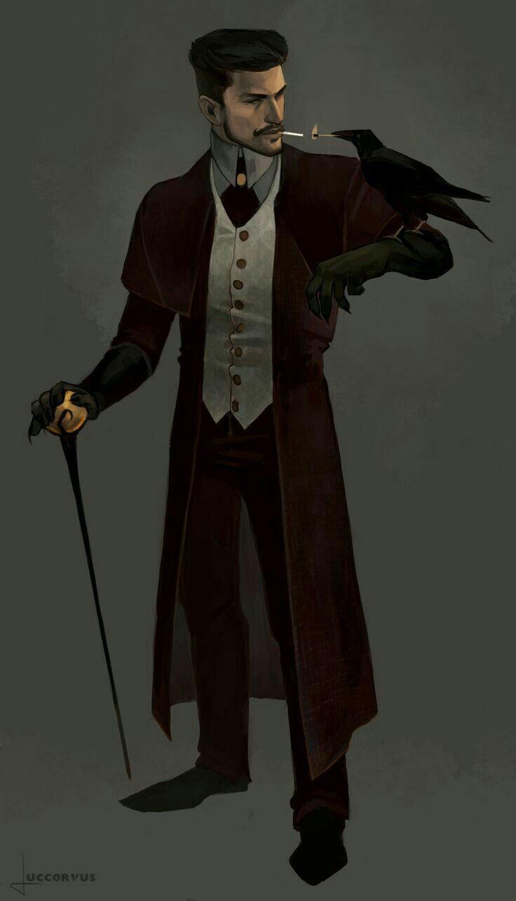 Male Human Wizard Investigator Warlock Black Hair Beard