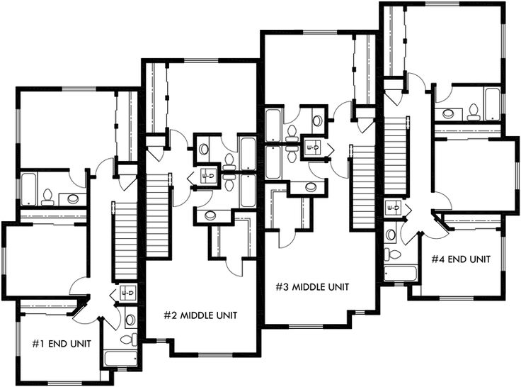 Upper floor plan 2 for townhouse plans 4 plex house plans for 1 story townhouse plans