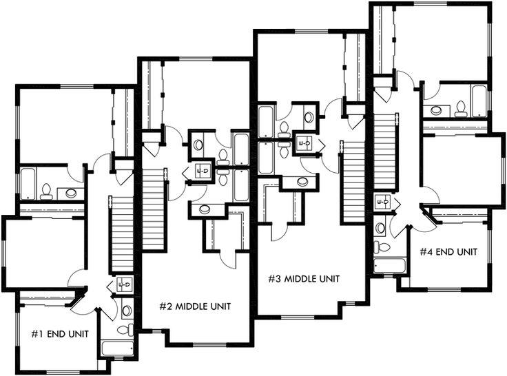 88 best triplex and fourplex house plans images on pinterest for Apartment plans 4 plex