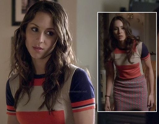 PLL Spencer / Blue and orange colorblock 'Armstrong' sweater with 'Molly Check Print' skirt (both are Marc by Marc Jacobs) / Season 4
