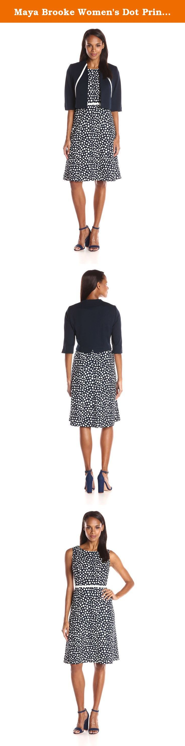 Maya Brooke Women's Dot Print a Line Jacket and Dress Set, Navy/Ivory, 12. Perfect for the office or social occasion can be used as guest of wedding mother of the bride.