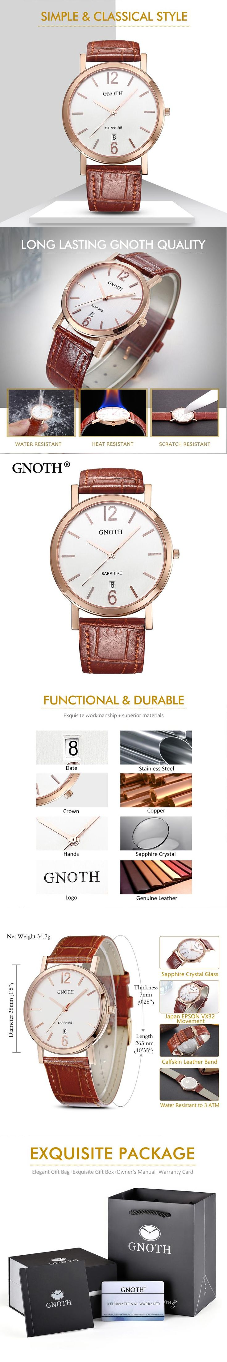 New GNOTH Top Brand Quartz Women Watch Analog Display Sapphire High Quality Leather Strap Female Wristwatches Box Gift Hot Sale