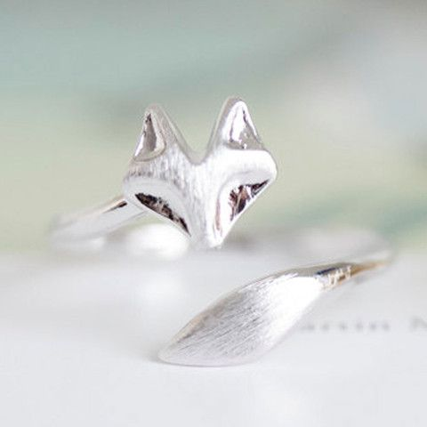 Delicate Fox Animal Ring in Platinum Plate | The Alchemy Shop, LLC