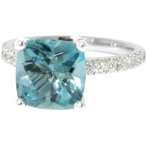 Preowned Lizunova Aquamarine And Diamond White Gold Engagement Ring ($7,000) ❤ liked on Polyvore featuring jewelry, rings, engagement rings, white, pre owned engagement rings, aquamarine diamond ring, white gold rings and aquamarine rings