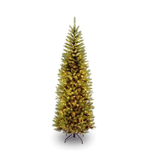Vintage  Foot Narrow Slim Fir Christmas Tree Pre strug Clear Lights and Stand