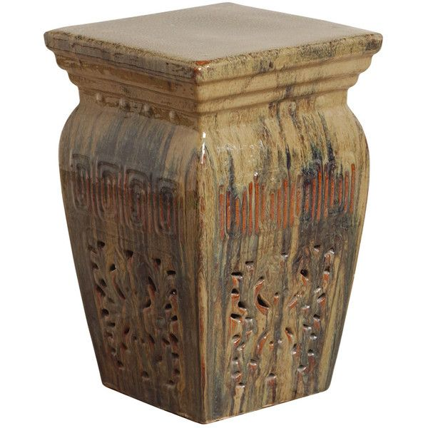 Toffee Southwestern Red Beige Brown Pierced Ceramic Garden Stool Seat (€380) ❤ liked on Polyvore featuring home, outdoors, patio furniture, outdoor stools, stools, brown end table, red outdoor furniture, outdoor garden stools, outdoor side table and outside patio furniture