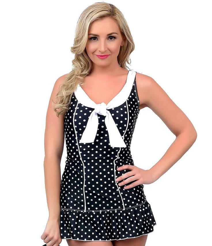 1950s Pin Up Black & White Polka Dot Fairlane Nautical Two Piece Swimsuit