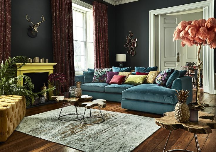 Create a striking look in your living room by combining an array of bold colour. Rich jewelled tones will create a luxe atmopshere. Click to shop the look.