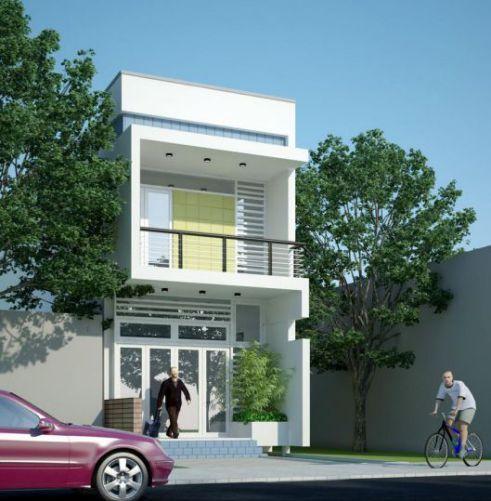 thiết kế kiến trúc nhà ống 1 tầng đẹp--mẫu 1
