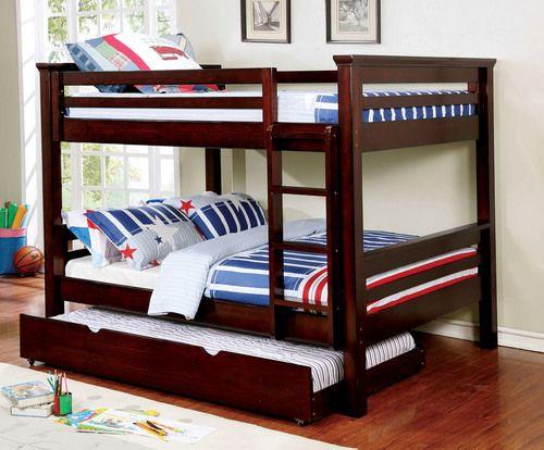 furniture of america mia full size bunk bed in dark walnut