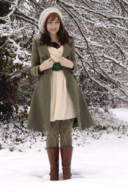 I love this super cozy look.  I'm not so sure how I feel about the tights, but the dress and jacket...so cute!