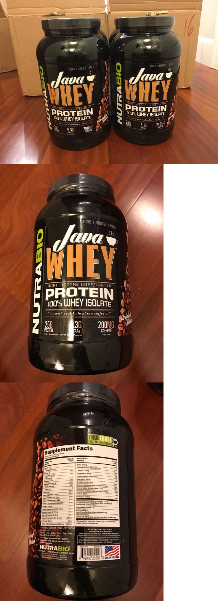 Protein Shakes and Bodybuilding: Nutrabio Java Whey Protein Isolate - Non Gmo - 2Lb. - 25G Protein, 5.3G Bcaas BUY IT NOW ONLY: $35.99