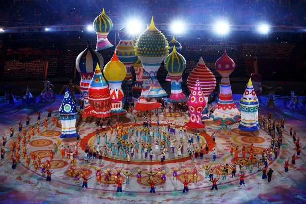The #Sochi Olympics opening ceremonies included these helium-filled set pieces to recall St. Basil's cathedral.