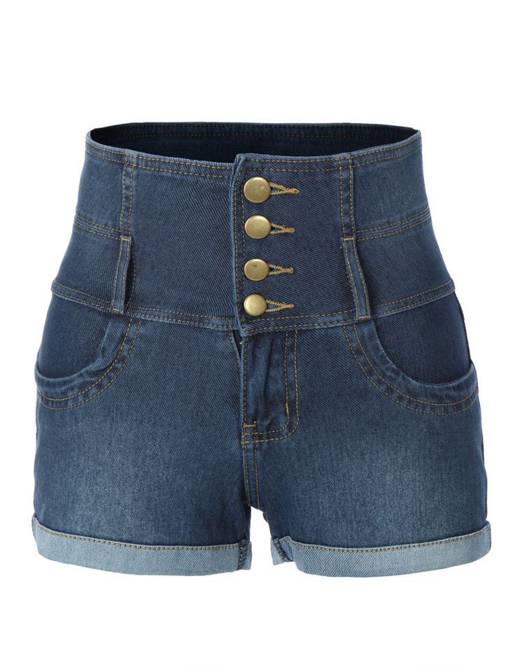 LE3NO Womens Stretchy High Waisted Denim Shorts with Pockets