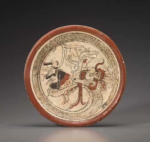 Large Maya Shallow Bowl, Late Classic, ca. diameter 12 Depicting a figure, painted black, seated in the open maw of a 'Vision' Serpent Architecture Tattoo, Art And Architecture, Vases, Tikal, Mesoamerican, Inca, Historical Art, Mexican Art, Ancient Artifacts
