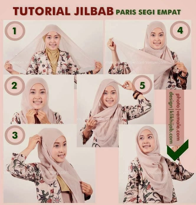 Tutorial Hijab jilbab Paris Segi Empat | 1001 Tutorial Hijab