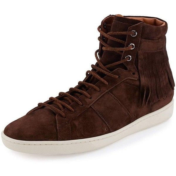 Saint Laurent Fringe-Detail Suede High-Top Sneaker ($486) ❤ liked on Polyvore featuring men's fashion, men's shoes, men's sneakers, brown, mens brown leather sneakers, mens brown suede shoes, mens brown shoes, yves saint laurent mens shoes and mens suede shoes
