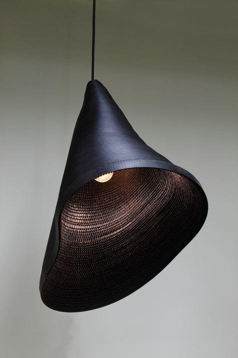 black cardboard ceiling light, by hyungshin hwang