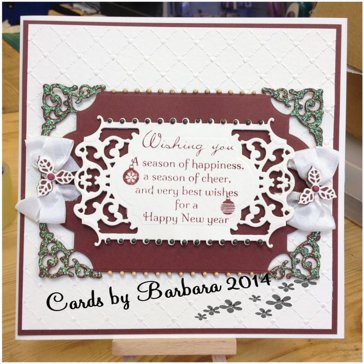 made using Sue Wilson Heart Lattice embossing folder, Suw Wilson Die edged with pearlescent pva and glamour dust, Christmas Verse Collection and finished with bows made with seam binding