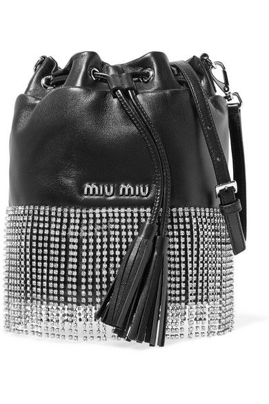 336a3cb6f5 Miu Miu - London Night Crystal-embellished Leather Bucket Bag - Black