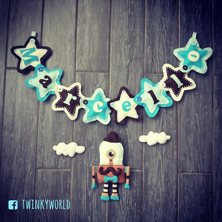 Felt garland - Baby name - Marcello with Hipster Vintage  Robot - name banner