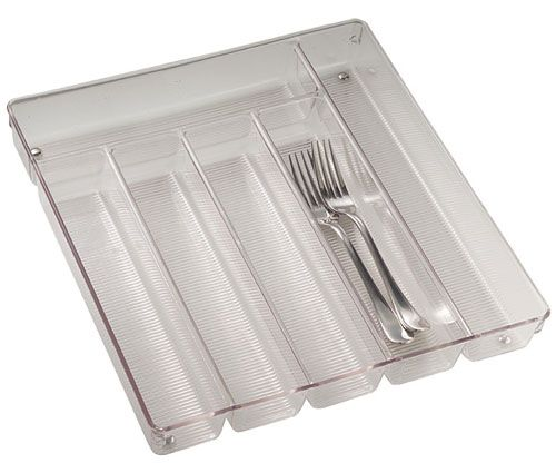 With the Large Clear Plastic Cutlery Storage Tray you can store all of your cutlery and silverware in one organized drawer