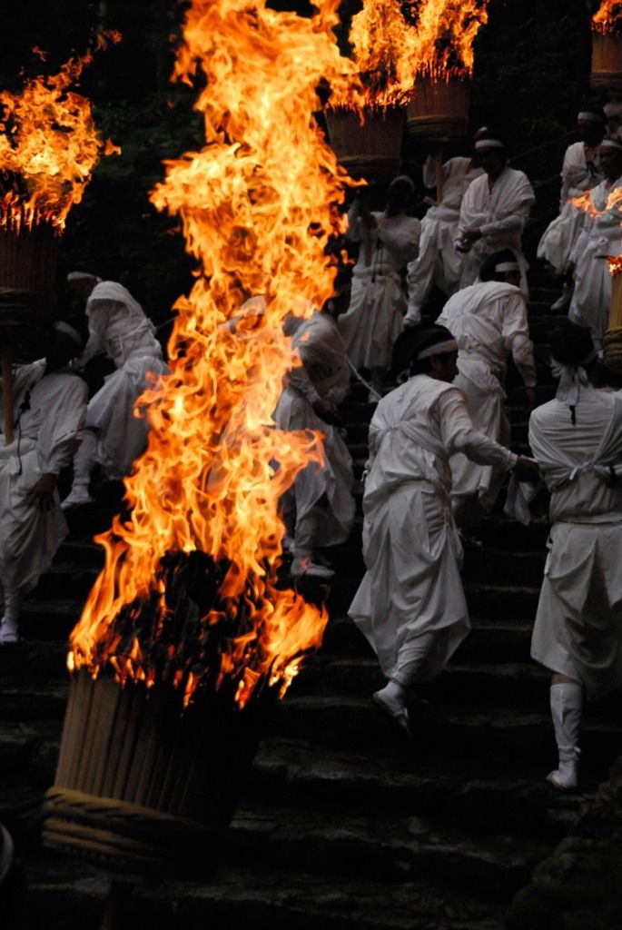 Fire Matsuri festival in Kumano Nachi Taisha shrine, Japan