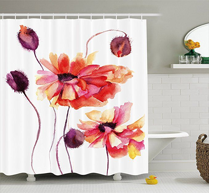 Amazon Com Ambesonne Floral Shower Curtain Watercolor Painting