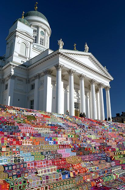Yarn bombed steps......Granny Square afghans on the steps outside Helsinki's Cathedral, Finland. >> love these type of installations. Fun form of art!
