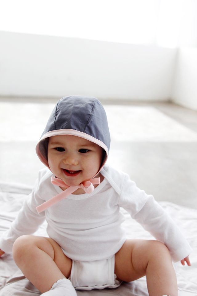 Classic Baby Bonnet Sewing Pattern. Reversivible, for knits or wovens, and can be used for both girls and boys!