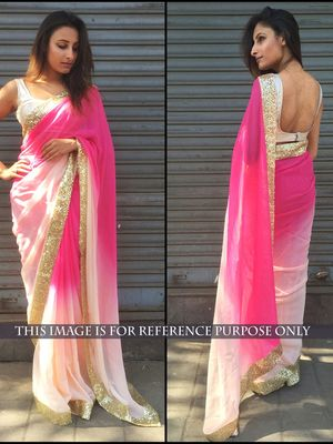 NEW LATEST PINK COLOR 60GM GEORGET PEDDING EMBROIDERY WORK SAREE Sarees on Shimply.com