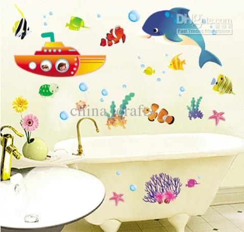removable bathroom wall stickers submarine kids room wall decals