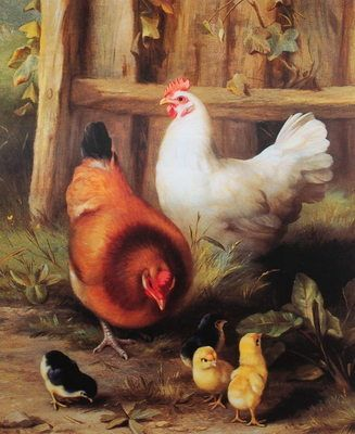 Edgar Hunt painted a lot of farm life like ducks, hens, roosters and chicks.