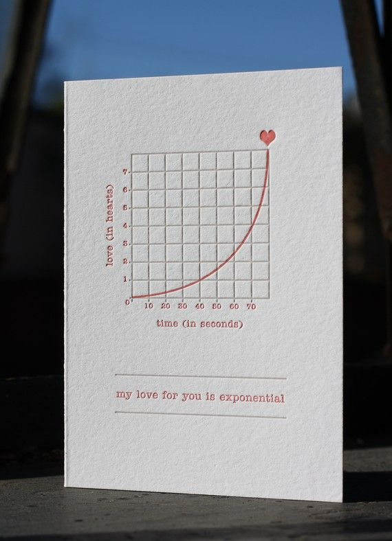 """""""My love for you is exponential."""" Card with matching envelope for $5.00 from Etsy shop FatBunnyPress."""