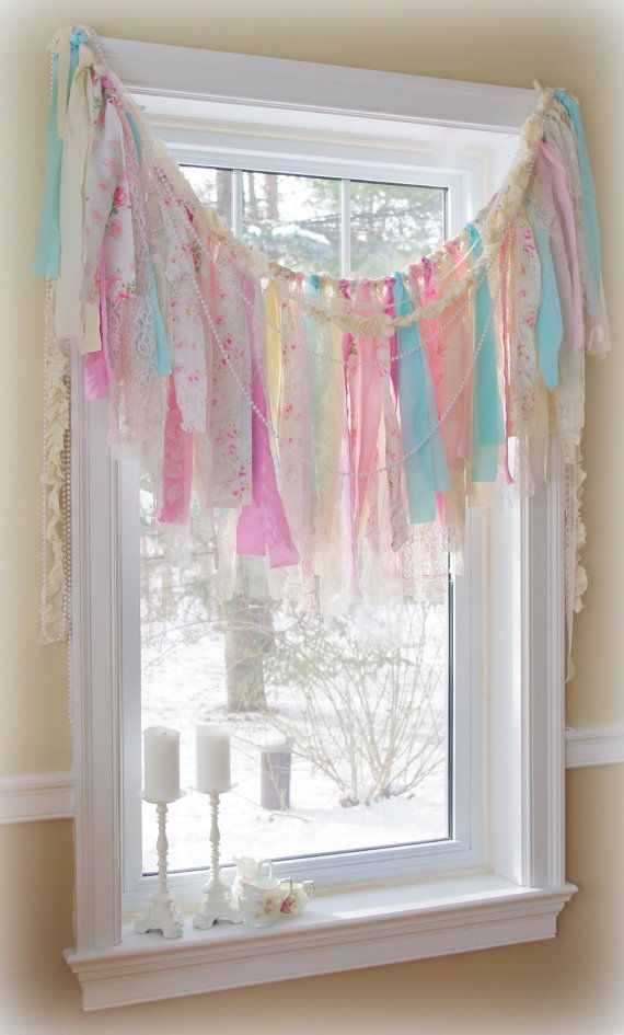 Vintage Fabric Garland in Shabby Chic Style by CountryChiq on Etsy, $40.00