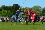 Jousting display at Arley Country Fair and Horse Trials held in the grounds of Arley Hall, Arley, Cheshire, England.