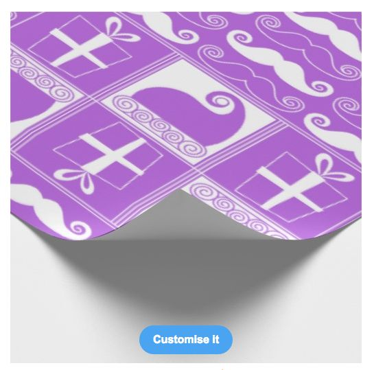 """""""A violet mustached christmas"""" custom christmas wrapping paper pattern on sale in my zazzle store! www.zazzle.com/martinaterzi check it out!"""