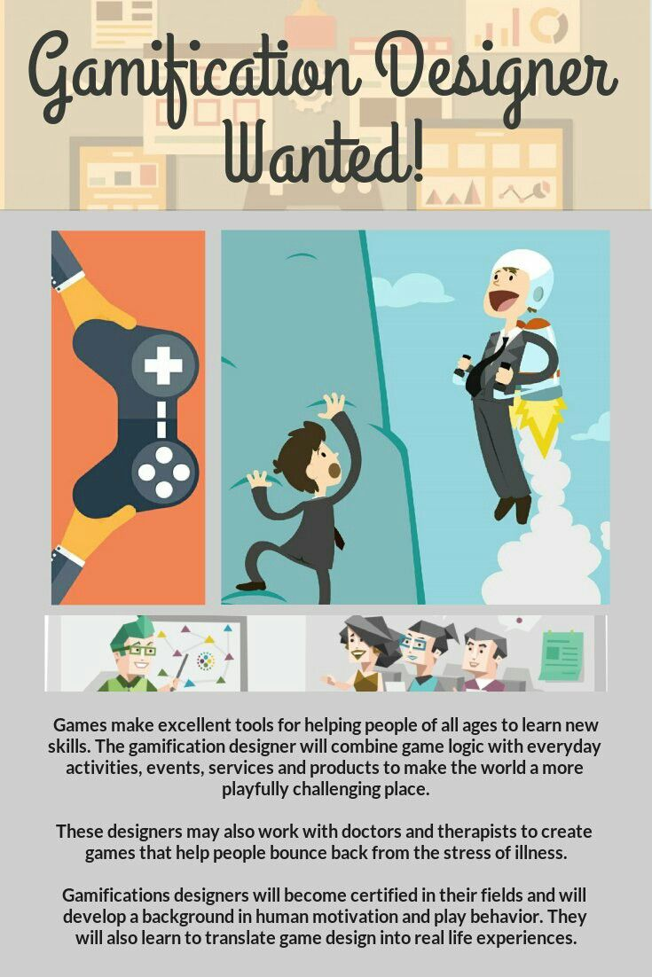 Could 'Gamification Designer' be a job in the future? I think so! Gamification in the workplace boosts employee morale and satisfaction, so as the use of gamification becomes more integrated into workplace design, the need for jobs such as a 'gamification designer' will become apparent!
