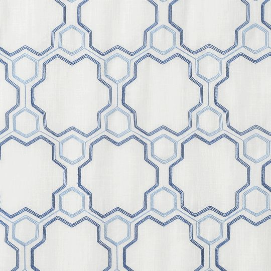 Logan Linen Swatch - like the linen fabric and geometric pattern almost like a molecule.  Perfect for the boy's room