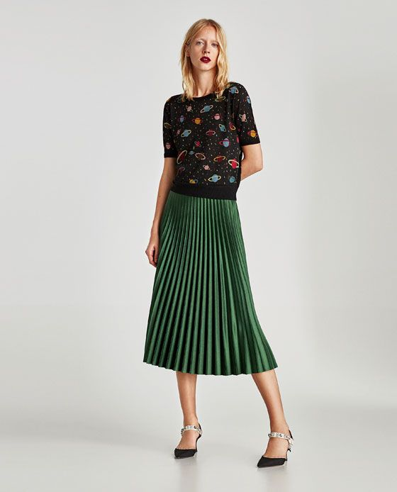 Image 1 of SHORT SLEEVE PRINTED SWEATER from Zara