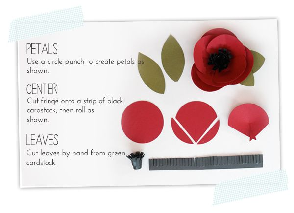 Easy Paper Punch Flowers | Damask Love Blog - I'd like to make a poppy brooch like this one out of felt for wearing on Remembrance Day in the UK. (Amber actually calls it an anemone, but it would make a great poppy too!)
